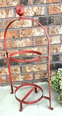 Vintage Chipy Farmhouse Wrought Iron Rooster Plate Stand/Holder Shabby Chic Red