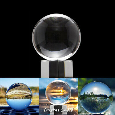 K9 50mm 80mm Clear Crystal Paper Photography Lens Ball Photo Prop Decor + Holder