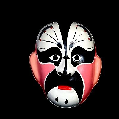 Chinese Opera Mask  Hand Painted Paper Mache Wall Art Dramatic Black/White/Pink