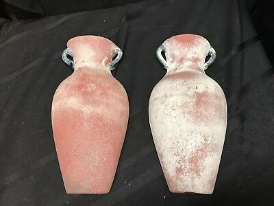 Vintage Pair Of Murano Frosted  Handled Art Glass Wall Pockets/Vases 10.5 X 5.5