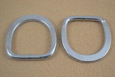 """D-Ring - 1 1/2"""" - Stainless Steel - Flattened Ends - Pack of 8 (F121)"""