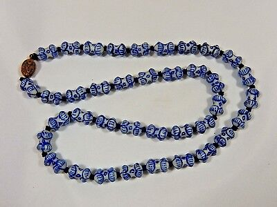 "Art Deco Chinese Unique Barbell Shape Hand Painted Blue White Bead 24"" Necklace"