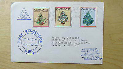 Cover Canada First Day of Issue Fort Resolution N.W.T. Air Mail Merry Christmas