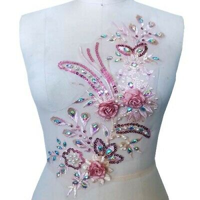 1Pcs Handmade 3D Floral Beaded Sequin Embroidery Lace Applique DIY Bridal Dress