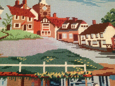 VINTAGE HAND EMBROIDERED TAPESTRY PICTURE ~ COTTAGES CHURCH And RIVER BANK