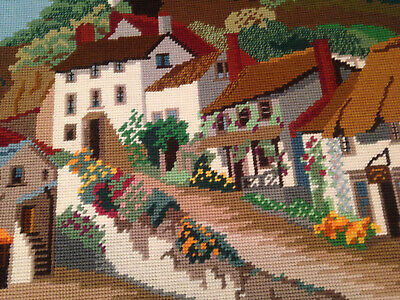 Vintage Hand Embroidered Tapestry Picture ~ Country Village Scene
