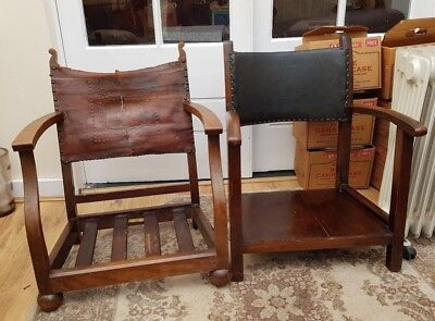 2 x antique Victorian 'fireside chairs' wood and leather