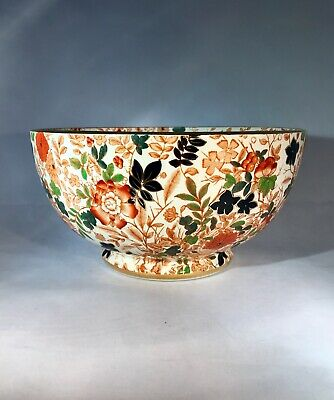 Large Antique ROYAL CAULDON ENGLAND Bittersweet Porcelain Bowl Imari Chintz Mint