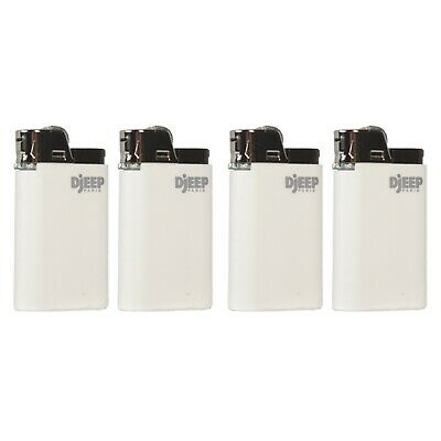 4 x Djeep CLASSIC WHITE Lighters, New w/ Butane, Free Same Day Express Shipping