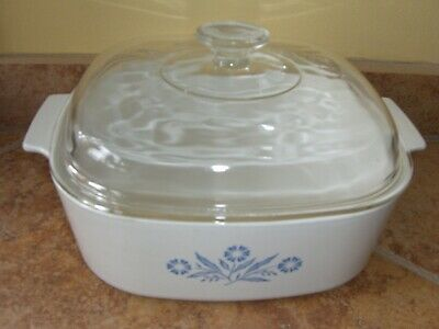 Corning Ware Blue Cornflower 4 Quart Square Dutch Oven With Lid