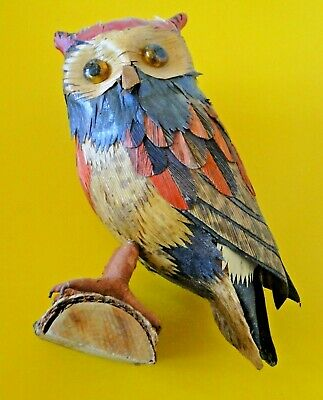 Chouette Hibou En  Bois Colore Statue Decoration Owl Collector