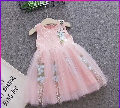 Floral Patchwork Lace Girls Dress Ball Gown Birthday Party Dresses Kids Clothing