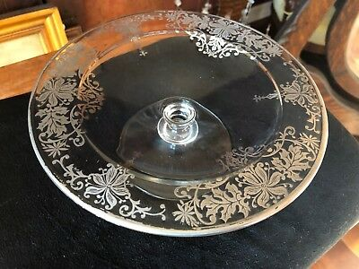 Sterling Silver Overlay Glass Compote Vintage EXC Cond 8 1/4""