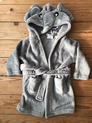 Cute Grey Elephant Kids Dressing Gown New Age 12-18 Months Babytown
