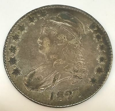 1827 Capped Bust Square Base 2 Silver Half Dollar