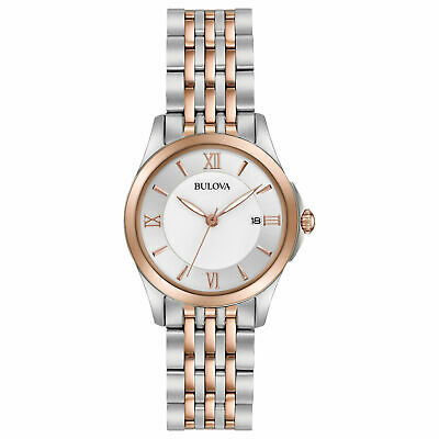 Bulova Women's 98M125 Quartz Mother of Pearl Dial Two-Tone Band 27mm Watch