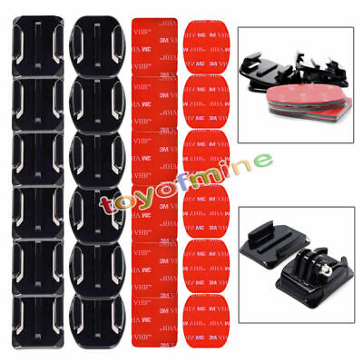 Lot Flat Curved Adhesive Mount Helmet Accessories For Gopro Hero 1/2/3 /3+/4 Kit