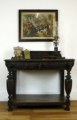 A Fine-Looking Victorian Oak Gothic Revival 2 Drawer Side Table