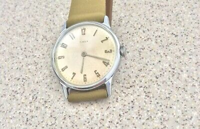 Vintage Timex 1968 mechanical men's watch. New Copa suede leather band. Serviced