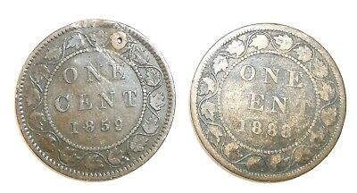 1859,1888 One Penny Victoria, Canada 2 Coins