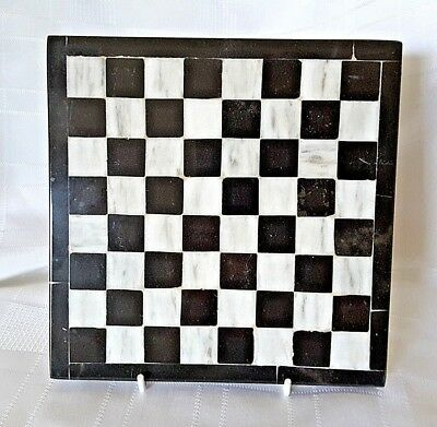 "Vintage Marble Tile Black & White Chess Board Trivet Wall Art 7"" Square"