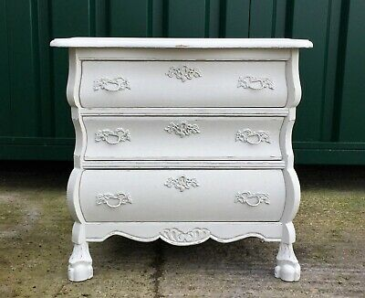 Small Shabby Chic Vintage Painted Louis style Bombe chest of drawers