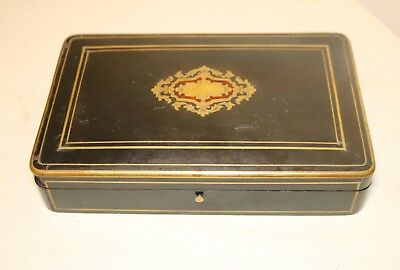 antique 1800s brass wood veneer Napoleon III French smoking cigarette box boulle