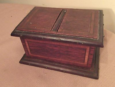 antique 1800's handmade inlaid wood brass cigarette dispenser box case chest
