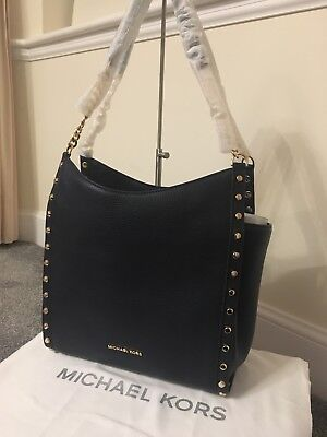 9ba348ed3b77 BNWT Genuine Michael Kors Newbury Studded Leather Chain Tote bag In Admiral  Navy