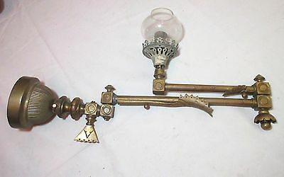 Large antique ornate gilt bronze Art Deco brass gas wall fixture sconce pivoting