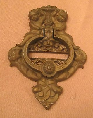 huge antique thick cast iron gold ornate cherub devil putti front door knocker
