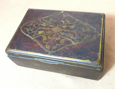 antique 1800's German gilt bronze inlaid wood cigarette jewelry table box brass