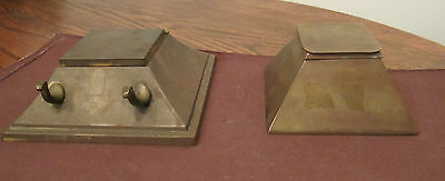 antique bronze Bradley Hubbard B&H desk top inkwell pen holder wash brass old
