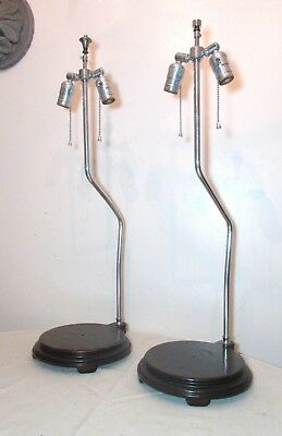 Large pair 2 vintage mid century modern chrome wood statue electric lamp stand