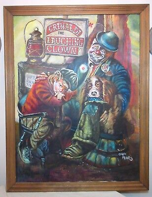 LARGE original Gabe Perillo Grimaldi the laughing clown oil painting on canvas