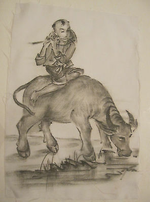 vintage original figural boy W/ bull Japanese signed ink drawing on white silk