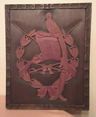 antique hand carved wood Folk Art Independence wall plaque art sculpture 1821