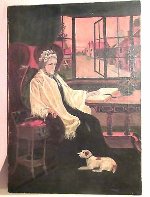 antique 1800s original Folk Art figural elder women dog Emueham oil painting O/C