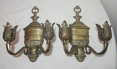 antique pair 1800's gilt bronze EF Caldwell ornate candle holder sconces brass