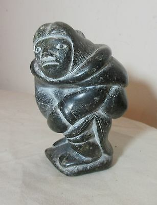 vintage hand carved soapstone Canadian figural mom Eskimo art sculpture Inuit