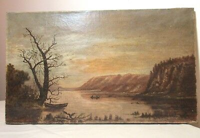 antique 19th century original landscape nautical row boat oil painting on canvas