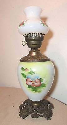 antique ornate hand painted bristol glass iron brass electrified oil parlor lamp