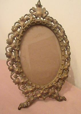 antique ornate Victorian gilt cast iron oval leaf picture frame stand bronze old