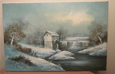 very large vintage original David Nicholas realism landcsape snow oil painting