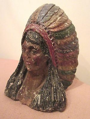 antique hand carved hard stone American Chief architectural sculpture corbel