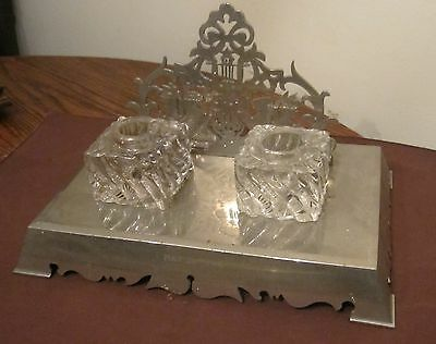 antique very heavy silver-plate glass 1916 ornate desk top inkwell writing set