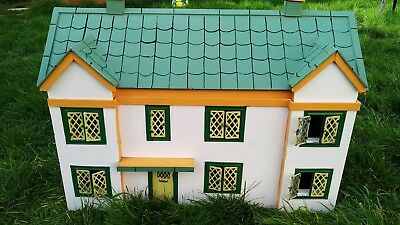 Vintage Beautiful Wooden Doll House Manor Cottage Tin Windows Some Furniture Toy