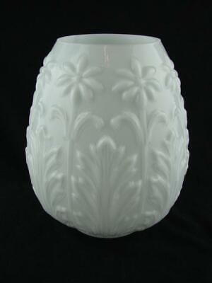 Superb Embossed Art Nouveau Design Beehive Oil Lamp Shade Moulded Overlaid Glass