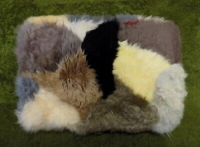 GENUINE MULTICOLOURED SHEEPSKIN RUG NURSERY, SEAT, PET BEDDING, MAT 51 x 33cm