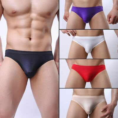 Mens Sexy Breathable Seamless Underwear Ice Silk Briefs Shorts Underpants 2019